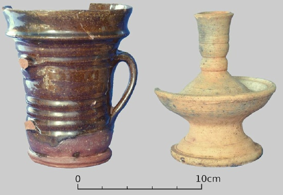 Post-medieval cup and candlestick