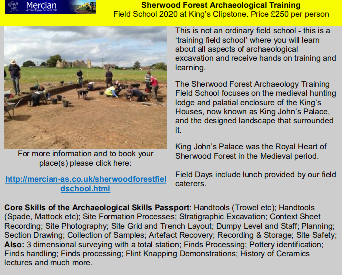 Sherwood Forest Archaeological Training Field School
