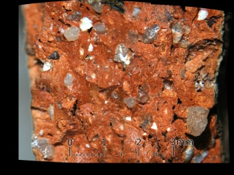 A Magnified section of a Medieval pot, showing the complex mineralogy Sherwood Forest Archaeology Project