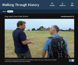 Channel Four's Walking Through History with Tony Robinson Sherwood Forest and King John's Palace